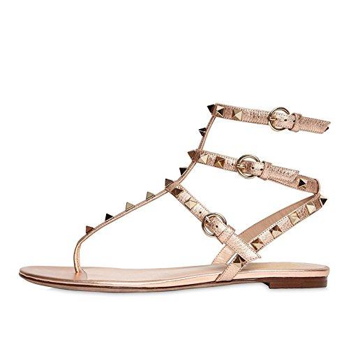 T-strap Flats Schuhe (Lutalica Damenmode T-Strap besetzt Casual Komfort Sommer Flache Sandalen Schuhe Gold Weiß Größe 39)