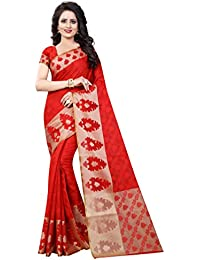 FAB BRAND WOMEN'S ETHNIC WEAR COTTON SILK BLACK COLOUR SAREE WITH BLOUSE PIECE
