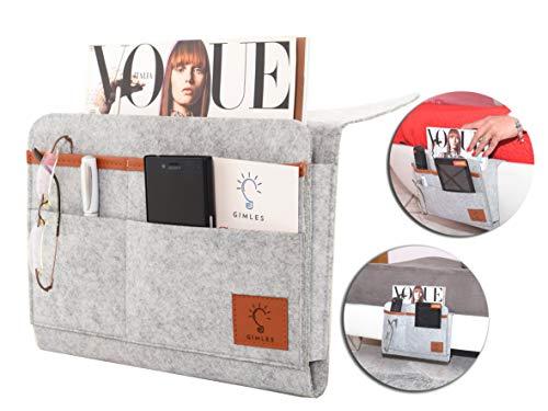 Portaoggetti tasca da appendere per letto o divano gimles | ideale per telecomandi, tablet, cellulari | dimensioni 30 x 21 centimetri spessore 3 millimetri