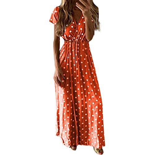 Damen Punkt Taille Lange Kleid, LeeMon Boho Lange Kleider V-Ausschnitt Sommerkleider Kurzarm Wickelkleid Maxikleid Strandkleid mit Schlitz