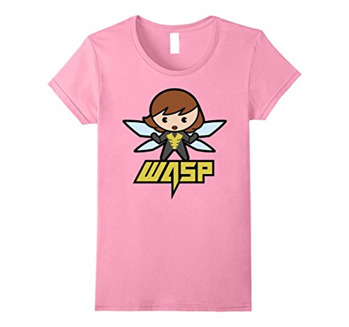 Womens Marvel Wasp Kawaii Cute Wingspan Stinger Graphic T-Shirt Large Pink (Lady Stinger)