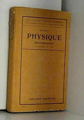 Physique Brevet élémentaire Programme de 1920