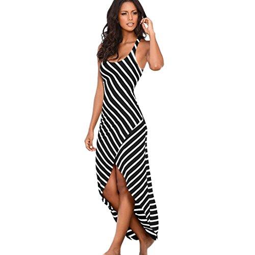 Damen Mode Partykleid, Keepwin Streifen Asymmetrisch Sommerkleid Casual O-Hals ärmellos Maxikleider Sundress Loose Lange Strandkleid (S, Schwarz)