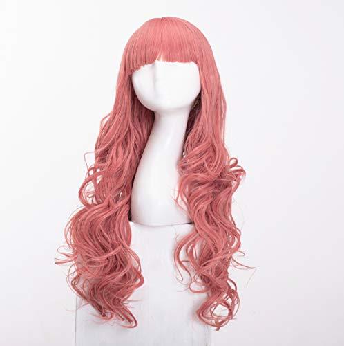 Lange lockige wellenförmige Perücken für Frauen Damen Synthetisches Volles Haar Natürliche Pfirsich Rosa Perücke mit Pony für Cosplay Kostüm oder Alltag(EINWEG) -