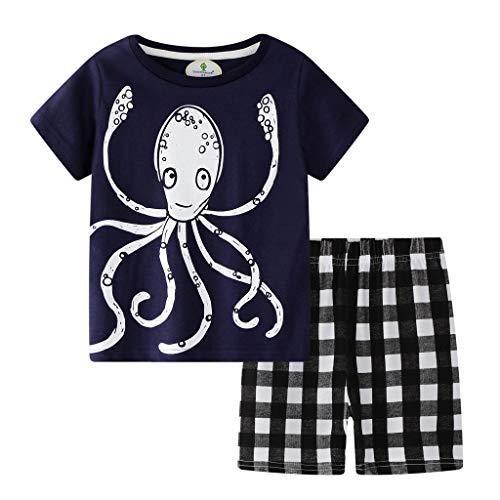 TTLOVE_Baby Kleidung, Kids Outfits Set Cartoon Tops T-Shirt +Gitter Shorts Schlafanzug Baumwolle NachtwäSche Kinder Sommer Pyjama Kleinkind 2Pcs Bekleidung(Marine,2T,18-24 Monthes) (2t Kleinkind-smoking)