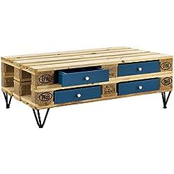 [en.casa]®] Cajón Elegante y Original para europalé - se Adapta Perfectamente - DIY - Turquesa (9,5cm x 37,5cm x 44,5 cm)