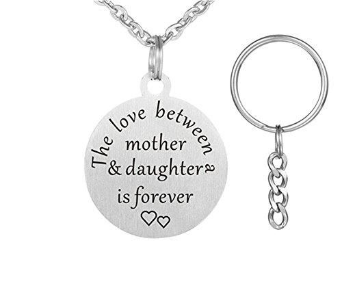 lisierte Mutter und Tochter Edelstahl Sentimental Name angepasst Engravable Runde Tag Keychain Anhänger Halskette für Mama von der Tochter für Mütter Tag Geschenk ()