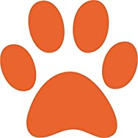 Red Leader Clothing 6 x Large Dog/Puppy Paw Print MATT Decals Car Bumper Wall Play Area Grooming (Orange)