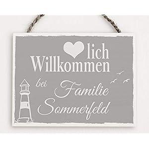 Türschild mit Familien-Name/Personalisiertes Türschild/Türschild mit Namen/Holzschild mit Familienname/Namens-Schild aus Holz