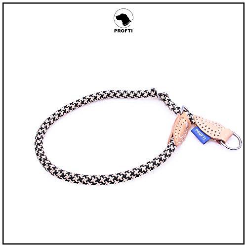PROFTI Halsband aus Nylon für Hunde, mit Zugstopp, große/kleine Hunde, 1,0x55cm (Schwarz/Beige)