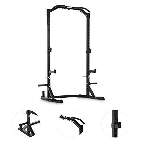 Klarfit Rackotar Power Rack / Langhanteltraining / gummierten Klimmzuggriffe; Stahl schwarz
