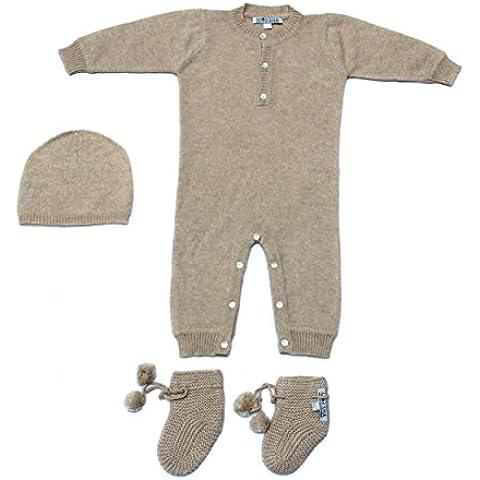 Bebé 100% cachemir Body Set, bebé cachemira Set con gorro y patucos, lujo bebé cachemira de Mongolia luz marrón
