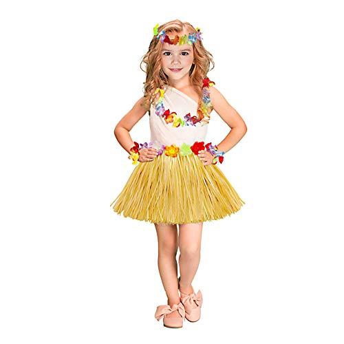 LYTIVAGEN Hawaii Kostüm Elastischer Hawaii Hula Rock mit Hawaiikette Hula Kostüm für Hawaii Party Geburtstag Feier Damen Kinder