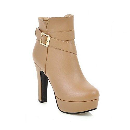 VogueZone009 Damen Reißverschluss Hoher Absatz PU Leder Rein Niedrig-Spitze Stiefel, Aprikosen Farbe, 42