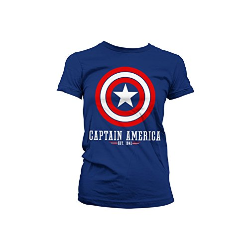 Officially Licensed Merchandise Captain America Logo Girly T-Shirt