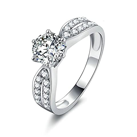 AMDXD Jewelry Sterling Silver Women Promise Customizable Rings Round CZ Size T 1/2,Engraving