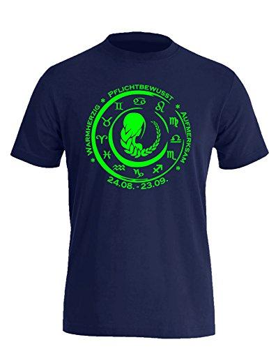 Sternzeichen Jungfrau - Astrologie - Herren Rundhals T-Shirt Navy/Neongruen