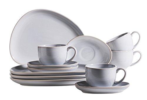 Mäser, Serie Il Lago, 12-teiliges Frühstücksset in Hellblau, Keramik Kaffeeservice mit Kafeetasse...