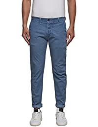 Replay Men's Men's Light-Blue Casual Trousers Cotton
