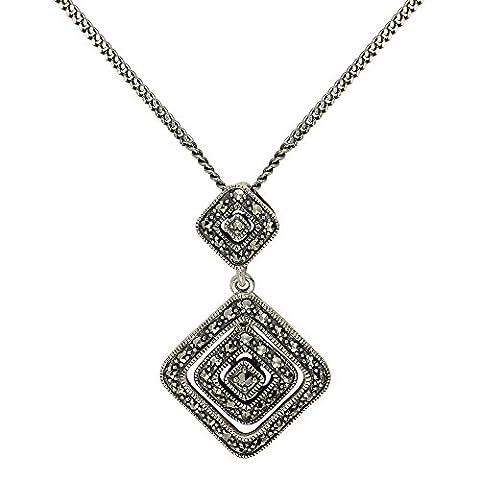 Esse Ring Markasit, Sterling-Silber 925, Markasit, Tudor Rose Halskette 40 cm