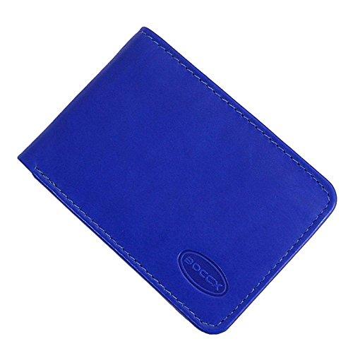 Blaue Mini Geldbörse (BOCCX Mini Geldbörse Portemonnaie Echtleder Designer Kleiner Geldbeutel Portmonee aus echtem Leder Herrenbörse im Querformat 10020 GoBago (Blau))