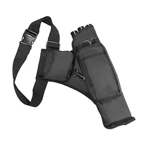 KEESIN Outdoor Jagd Pfeil Tasche, 3 Röhren Bogenschießen Köcher Halter mit Taschen und Verstellbarem Schultergurt (Schwarz) - Halter Pfeil