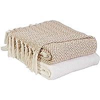 EHC Par de Mantas de algodón Chevron para sofá, Manta de Silla, 127 x 152 cm (2 Unidades), Color Marfil/marrón