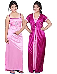 327460a620 TRUNDZ Women s Satin Full-Length Nighty Night Wear Sleep Wear Night Gown