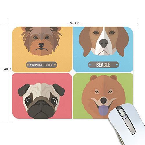 Basics Gaming Mauspad Cute Dog Head Mops Chow Beagle Yorkshire Terrier Mauspad Gaming Mauspad Computer Tastatur Mauspad 23,84 x 19,84 x 0,2 in Mop Heads 60