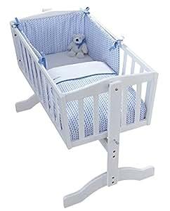 Clair de Lune d'orge bébé Berceau/Cradle Quilt et bumper (Bleu, 2pièces)