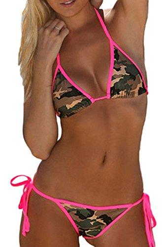 Fanvans Sexy Thong Bikini Set Camouflage Badeanzug für Damen Camo L