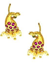 Anuradha Art Pink Colour Peacock Inspired Beautiful Designer Traditional Press Bugadi Clip-On Earrings For Women...