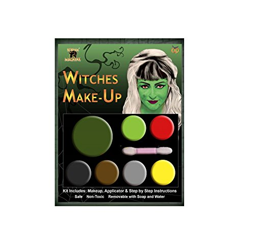 Damen Herren Halloween Klaue Hörner Sfx Kit Handschuhe Lack Maske Kap Makeup Latex Blut Perücke Zubehör (Hexe machen sich auf)