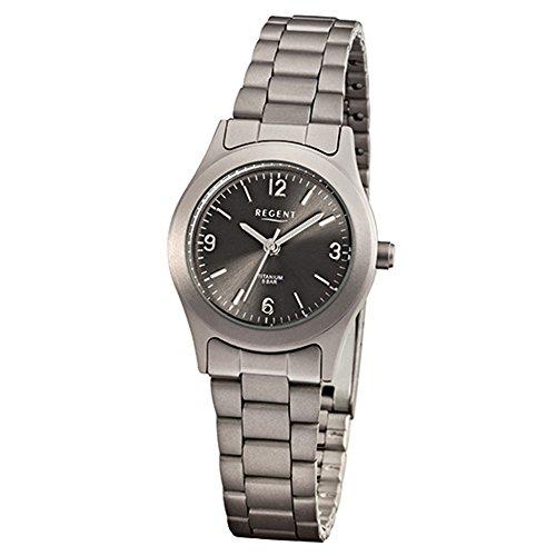 Regent Damen-Armbanduhr Elegant Analog Titan-Armband grau Quarz-Uhr Ziffernblatt anthrazit schwarz URF856