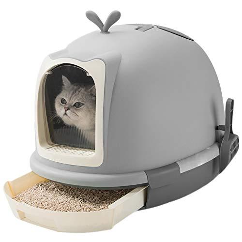 Jlxl Katze Klo Groß, katzentoilette Kapuze Schubladentyp Geschlossen Toilette Kunststoff Transparent Klappentür mit Scoop (Große Kapuzen Katzenklo)