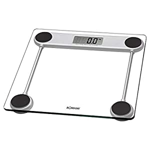 Bomann PW 1417 CB – Báscula de baño digital de cristal, medición 150kg y 100g, transparente, lcd