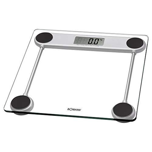 Bomann PW 1417 CB - Báscula de baño digital de cristal, medición 150kg y 100g, transparente, lcd