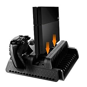 4 in 1 PlayStation Ladestation Ständer, Lüfter Kühlung, Controller Ladestation, 12 Kartensteckplatz, PS4 Zubehör für PS4/ PS4 Slim/ PS4 Pro