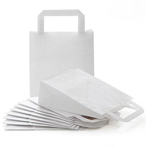 100 kleine weiße neutrale Kraftpapier Papiertüte Papiertasche Geschenktüte 18 x 8 x 22 cm Geschenkbeutel Verpackung Geschenk Mitgebsel give-away Geschenktasche Papier-Beutel