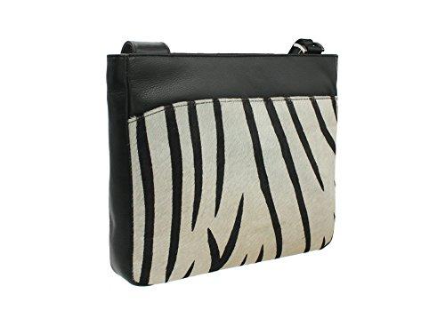 Mala Leder Ma?ra? Kollektion Leder Animal Print Cross Body Bag 7103_90 Zebra (Handtasche Satchel Zebra-print)