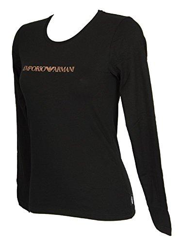 Emporio Armani T-shirt Top (Emporio Armani Damen Langarm T-Shirt mit U-Ausschnitt 7A263163229 (S, 00020 Black))