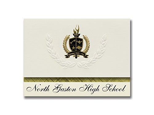 Signature Announcements North Gaston High School (Dallas, NC) Abschlussankündigungen, Präsidential-Stil, Grundpaket mit 25 goldfarbenen und schwarzen Metallfolienversiegelungen - Dallas Nc