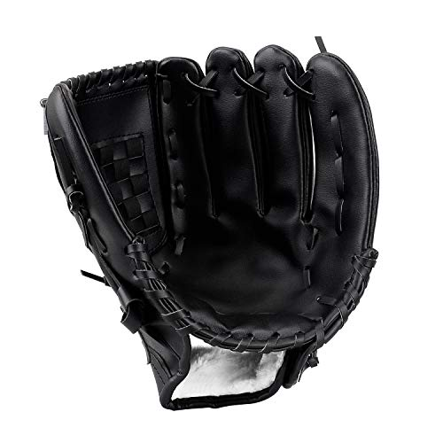 HIMETSUYA Baseball Handschuh(10,5''/12,5'') Sport & Outdoor Batting Softball Linke Hand Glove für Kinder Erwachsene Schwarz (12,5'')