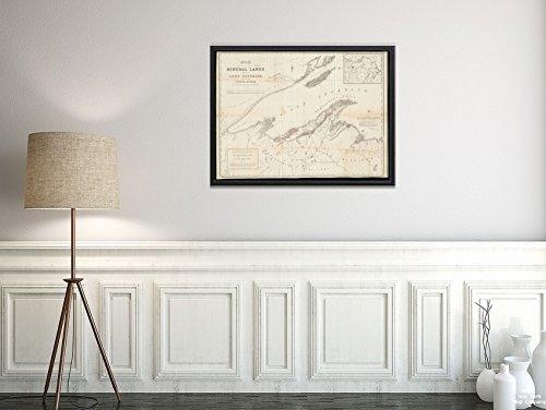 New York Karte Company (TM) 1845Karte Michigan Upper Peninsula Superior, Lake of, Dass Teil der Mineral Lands aufgefangen to Historic Antik Vintage Reprint Ready Zum Rahmen (Michigan See Karten)