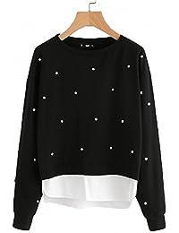 Khhalisi Women'S Full Sleeves Pearls Black Fleece Sweatshirt With Pockets