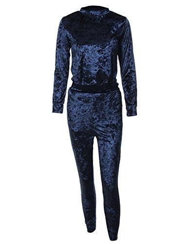 Donna Tuta Da Ginnastica Jogging Tuta Sportiva Fitness Sport Felpa E Pantaloni Blu Zaffiro