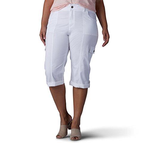 Lee Damen Plus-Size Relaxed Fit Skye Knit Waist Cargo Capri Pant Unterhose, weiß, 16W -