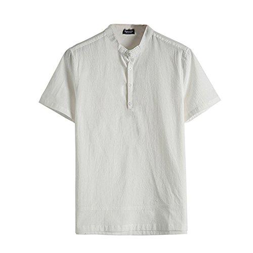 UFACE Sommer Herren T-Shirt Baumwolle Leinen Hemd Casual Longsleeve V-Ausschnitt Langarmshirt Tops Strand Yoga Bluse Einfarbig Lose Coole Hemden Lässig Hemden Für Männer