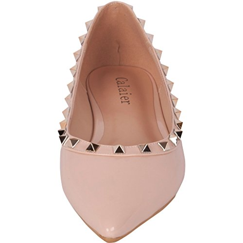 Calaier Femme Cateach Luxe Designer Filles Mode Party Dancing Rivet Studded Point Toe Chaussures Plates Mocassins 0.5CM Plat Glisser Sur Ballerines Rose