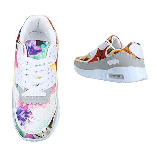 Damen Schuhe Freizeitschuhe Sneakers Turnschuhe Schwarz Multi Weiß